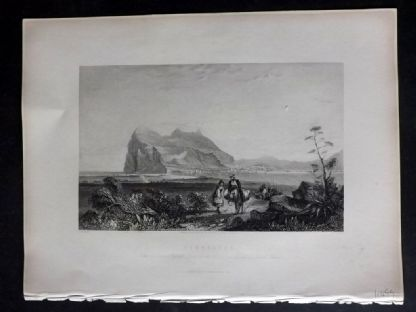 Wright 1840 Antique Print. Gibraltar.